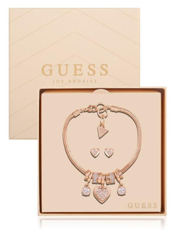 Rose Gold-Tone Charm Jewelry Box Set
