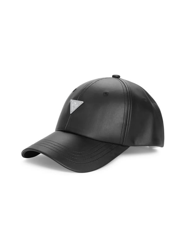 Faux-Leather Logo Emblem Baseball Hat