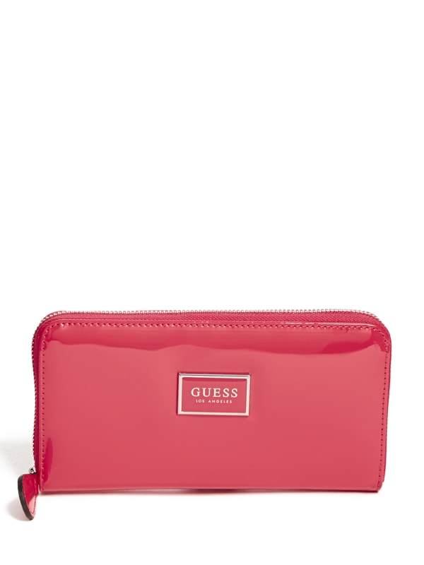 Abree Patent Faux-Leather Zip-Around Wallet