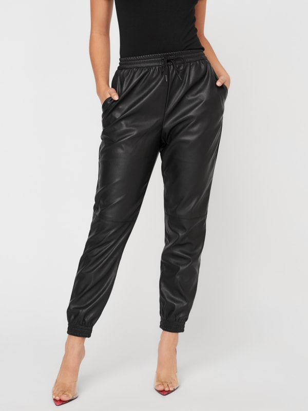 Faux-Leather Joggers
