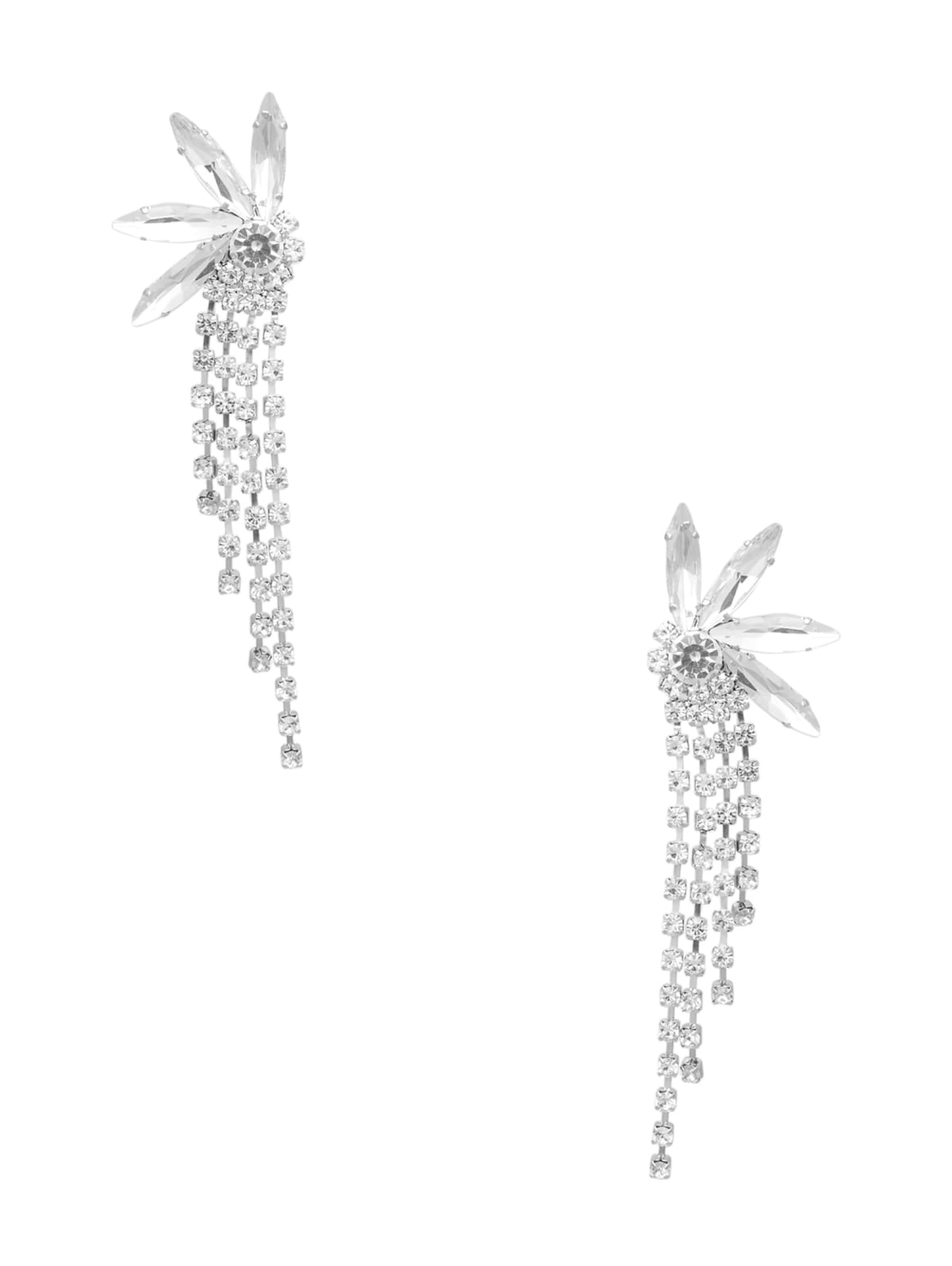 Petite Crystal Rhinestone Dangle Screw Back EarringsVintageSilver tone34 x 14 Great Condition #VBR52