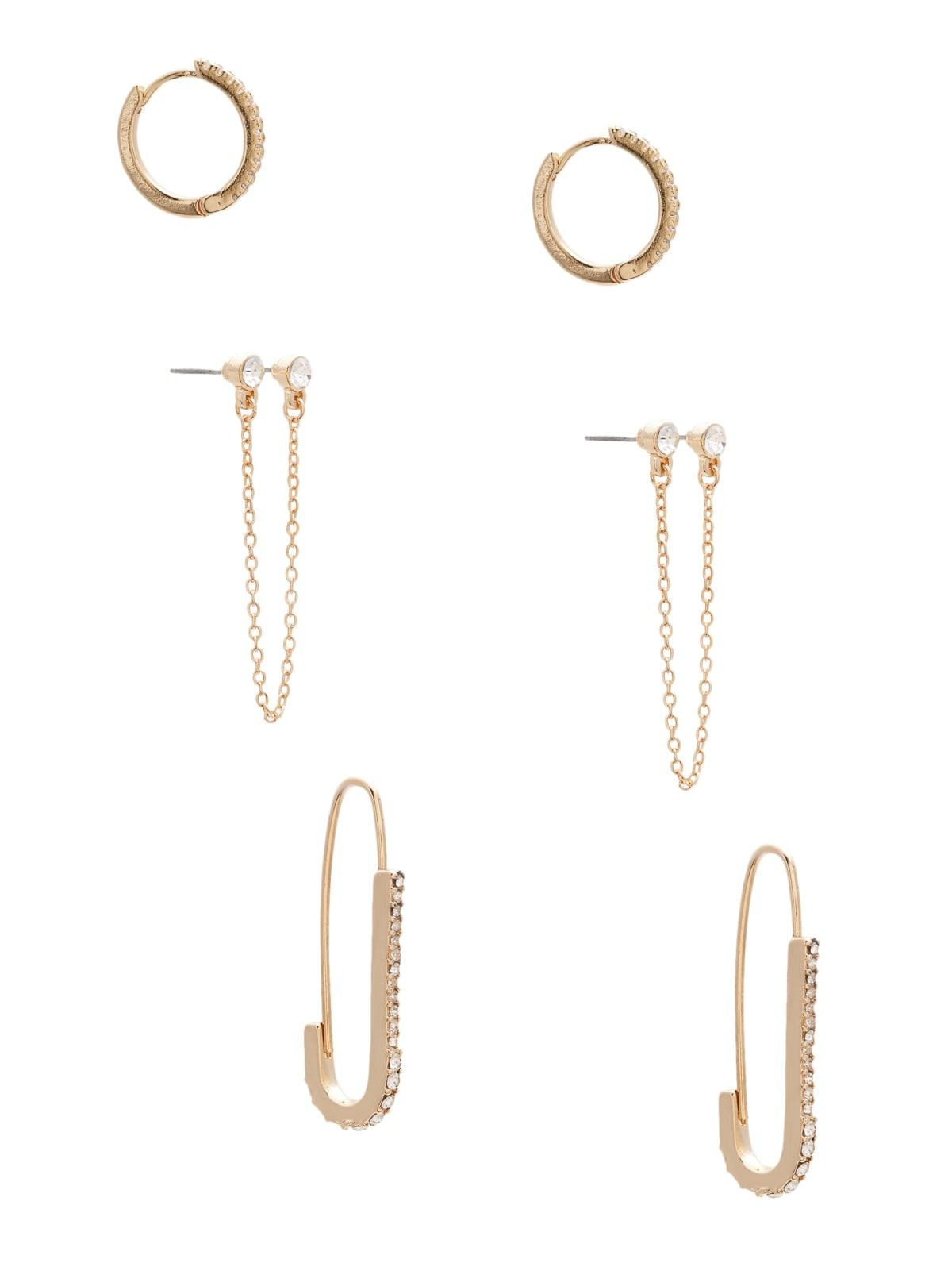 silver tone dangle earrings pin safety pin Silver Pin Earrings