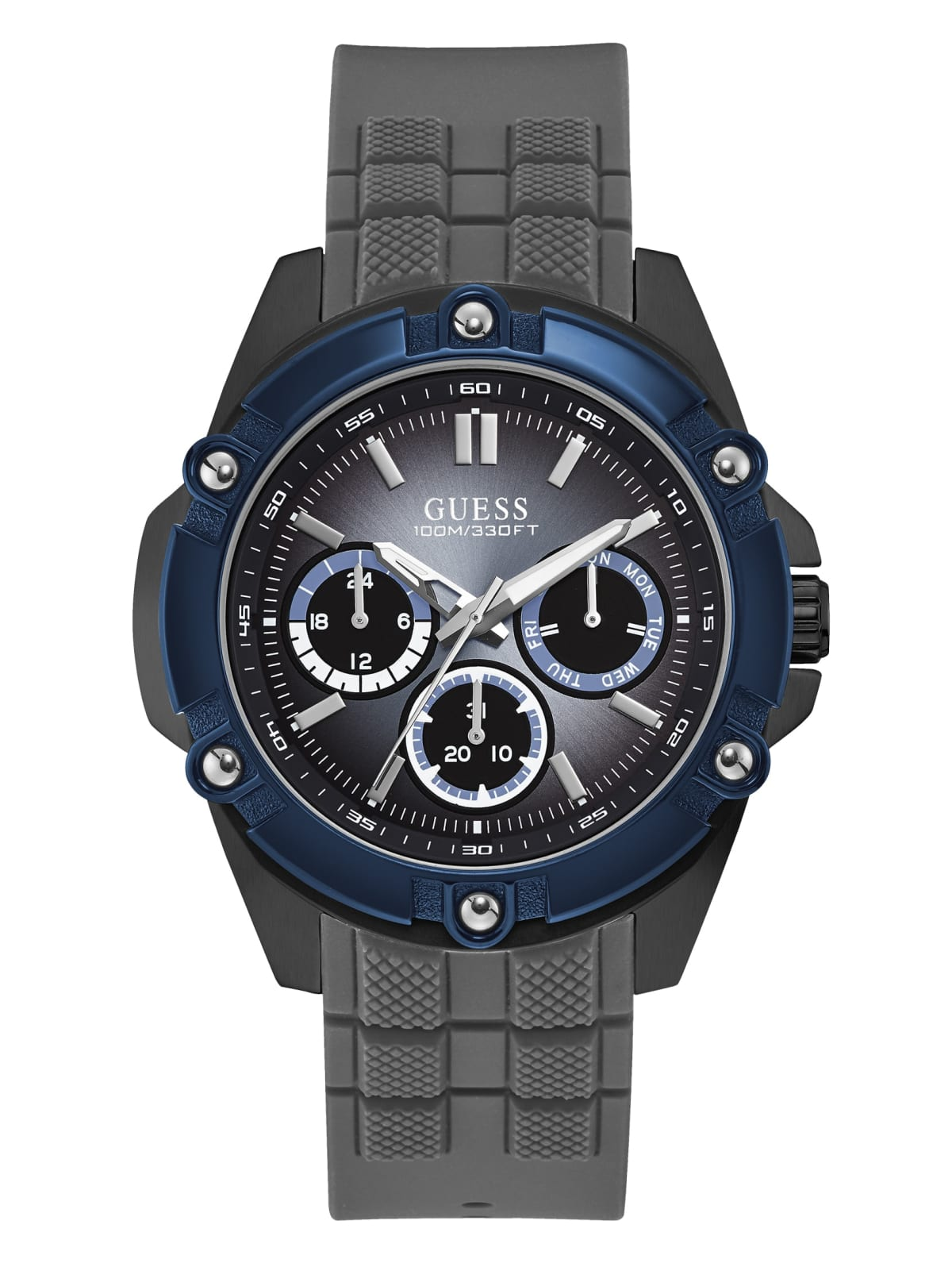 Parana River esso Centro  Blue and Grey Silicone Multifunction Sport Watch | GUESS Canada