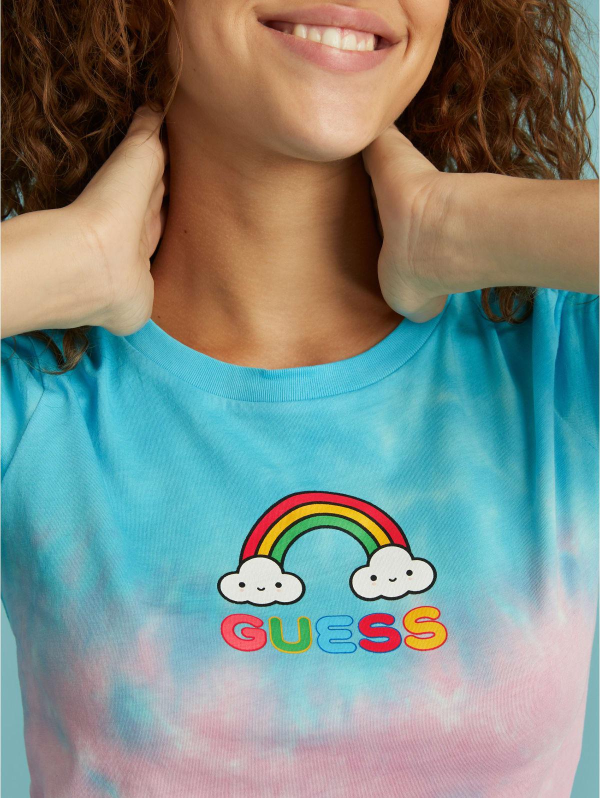 Guess Kids Fille T-Shirt Logo Print j02i01 k6yw0 Rose NEUF