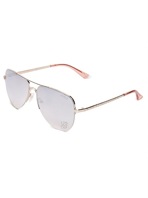 Sparkle Metal Aviator Sunglasses |