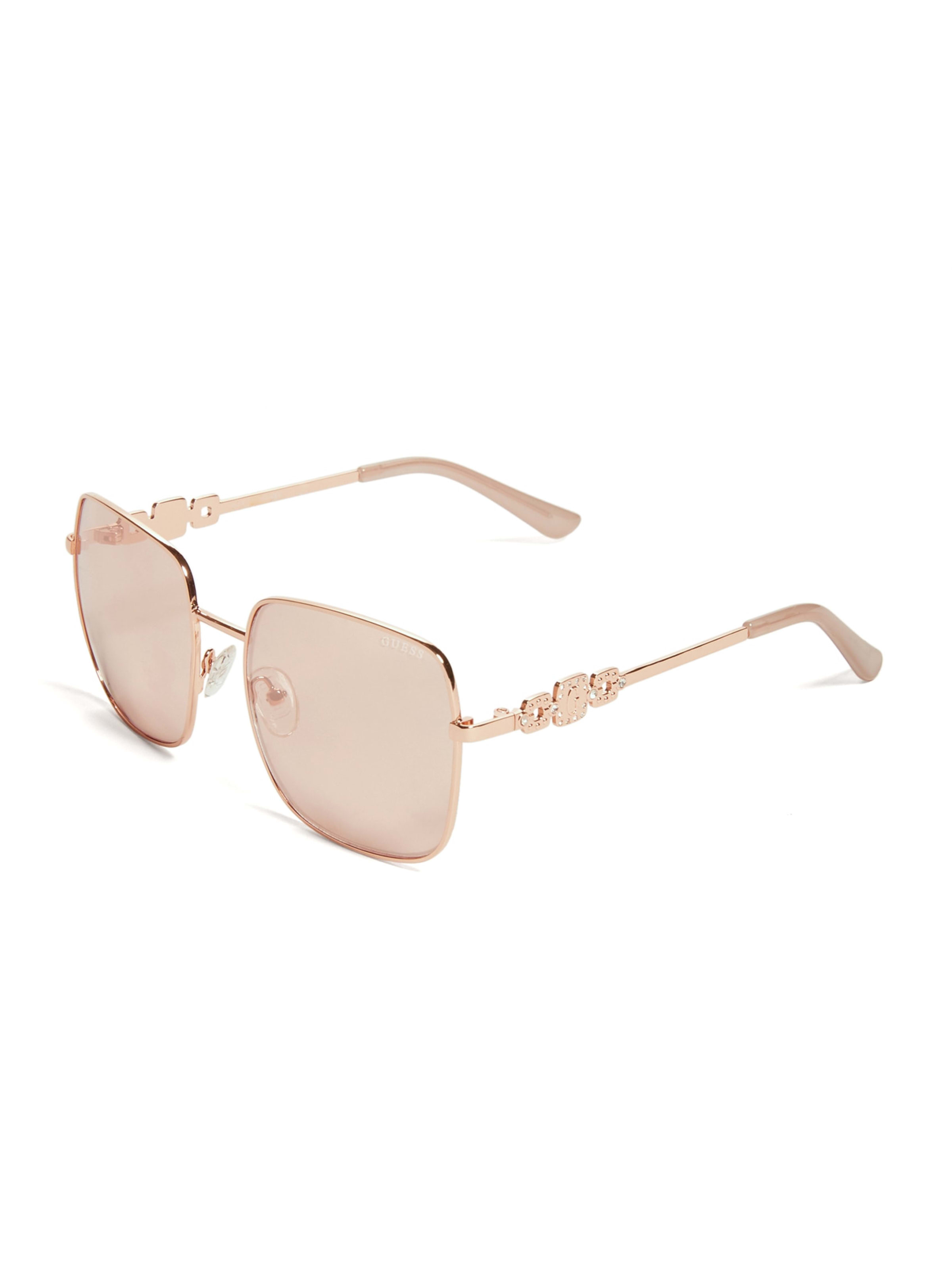 Rhinestone Square Aviator Sunglasses |