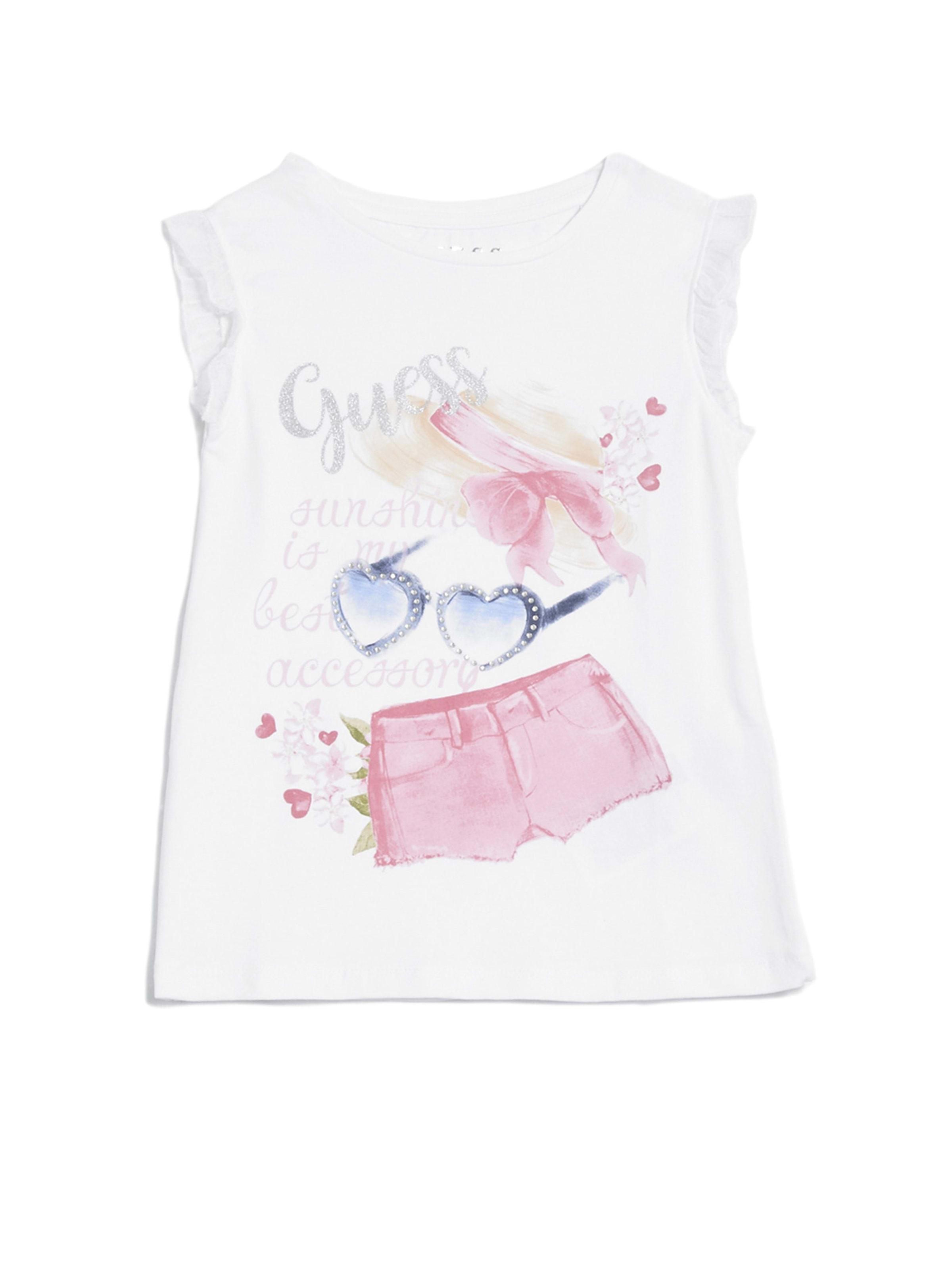 GUESS Girls Short Sleeve Mesh Trim Sequin Graphic T-Shirt
