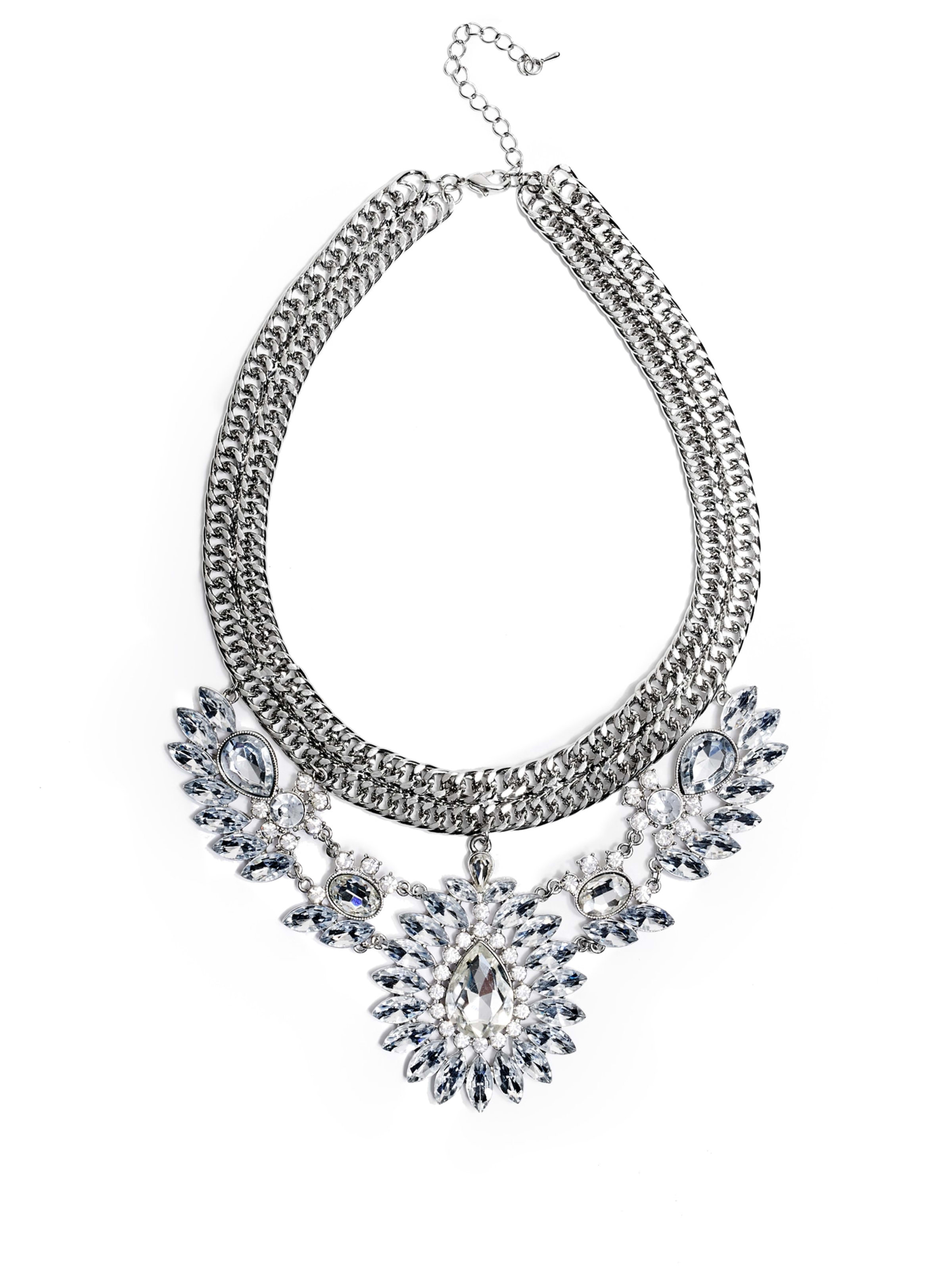 Alexis Silver alexis silver-tone stone necklace | guess.ca