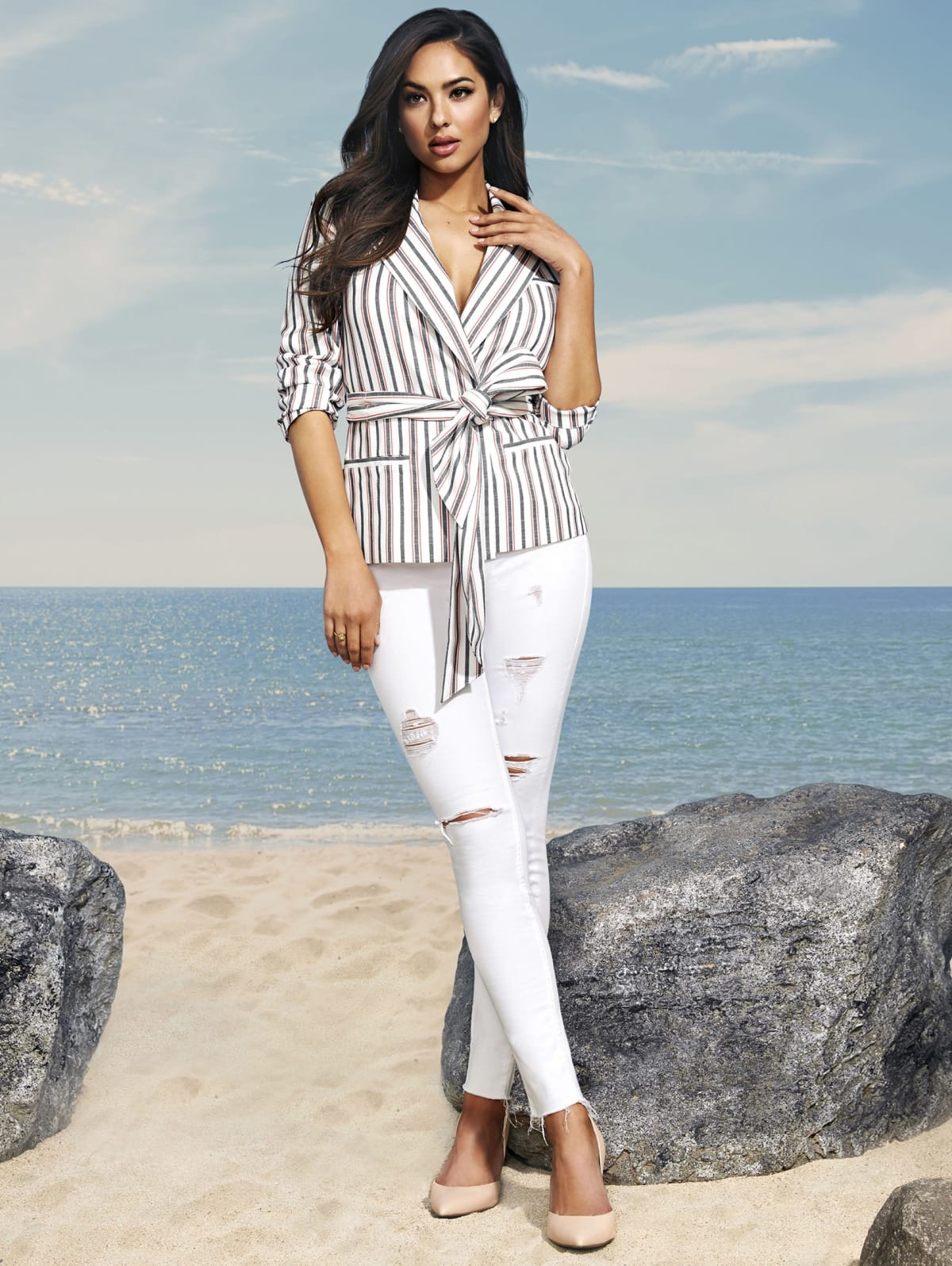 Giselle Striped Tie Blazer   GUESS by Marciano