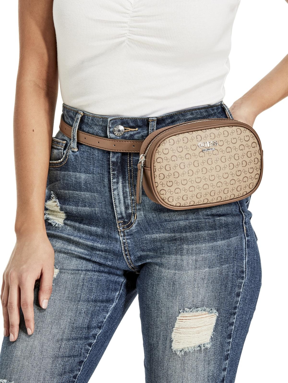 GUESS Factory Womens Winstone Logo-Print Belt Bag