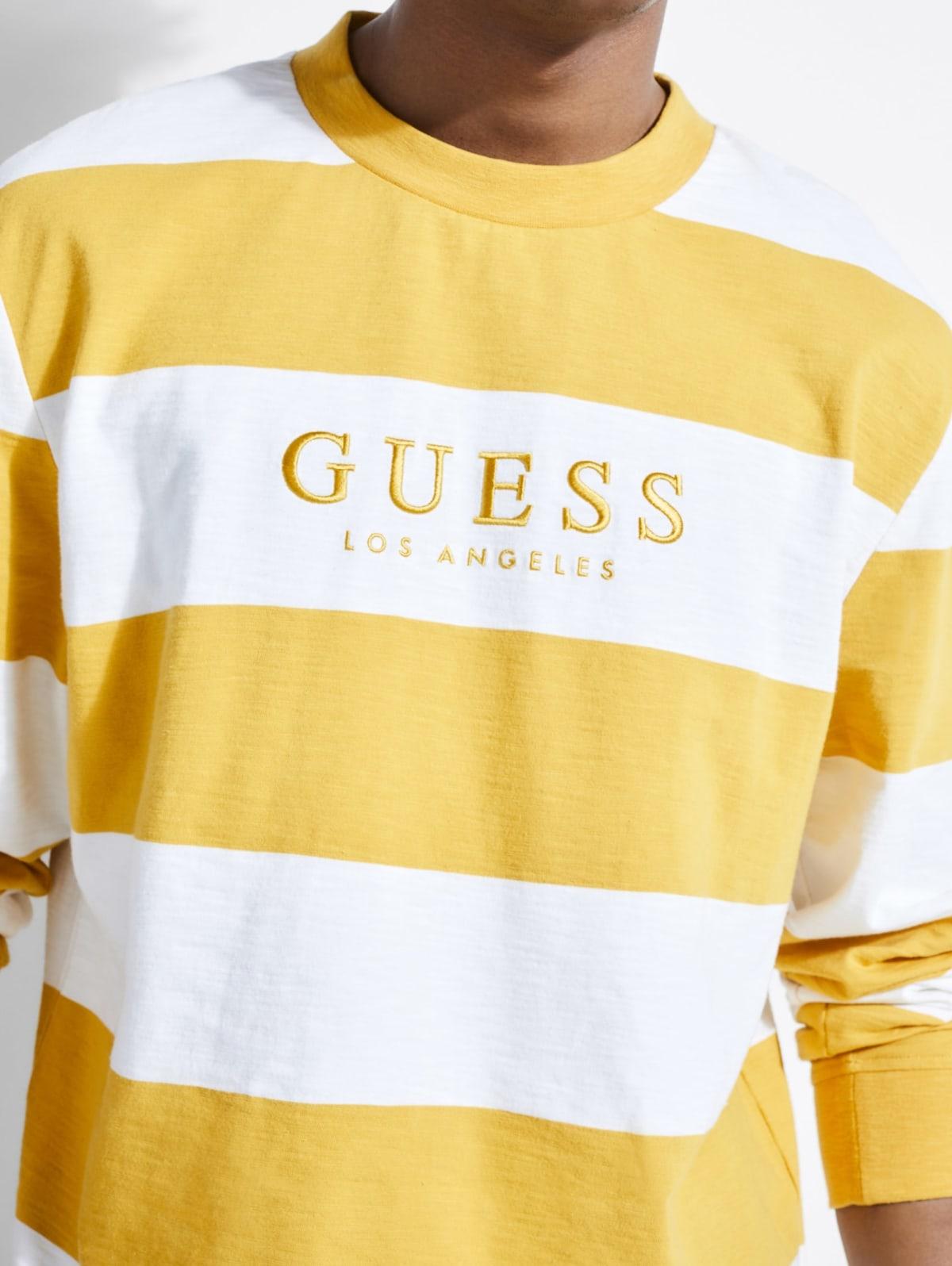 GUESS Mens Long Sleeve Piece Crew T-Shirt