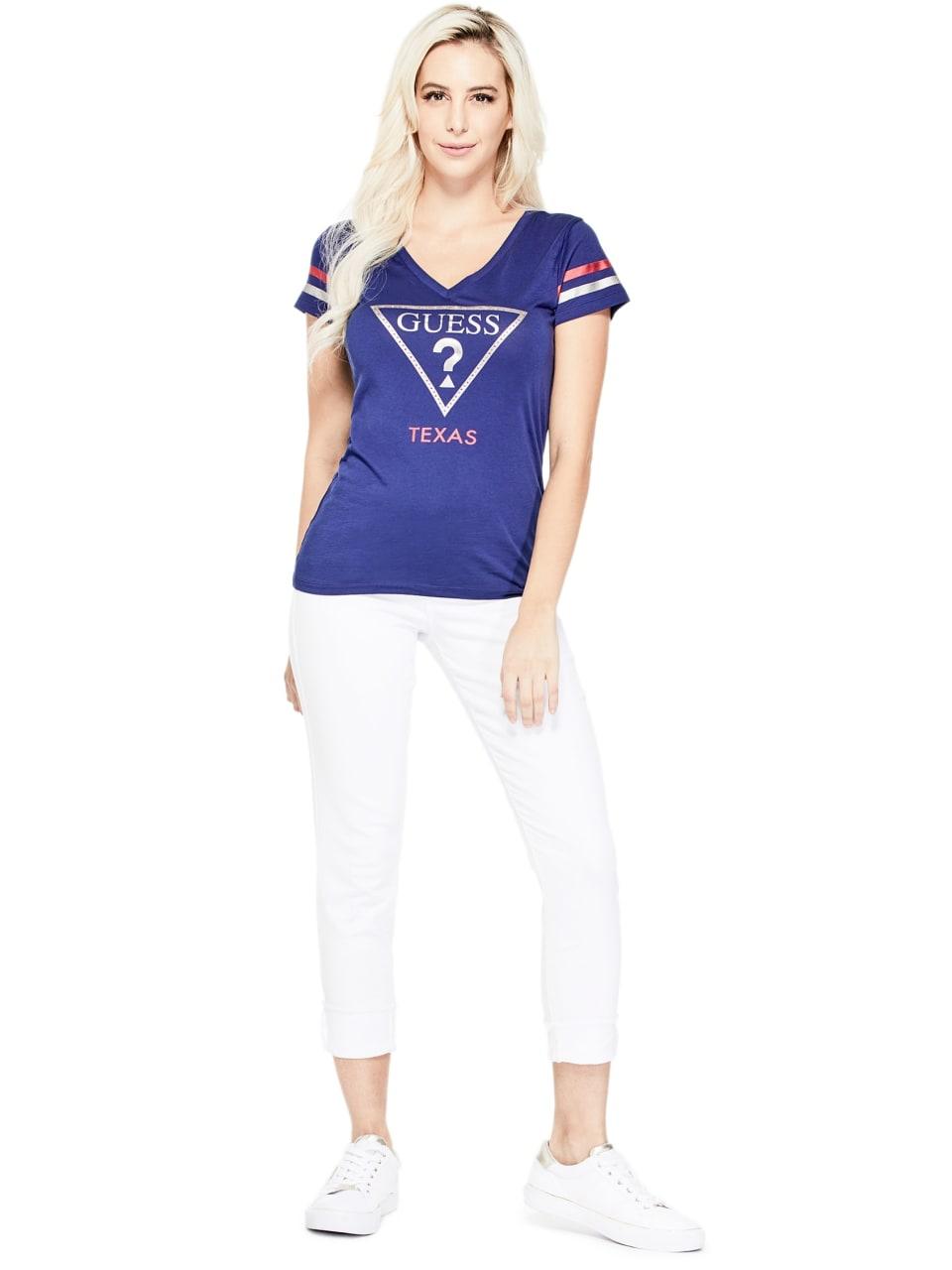 GUESS-Factory-Women-039-s-Texas-City-V-Neck-Varsity-Short-Sleeve-Tee thumbnail 11