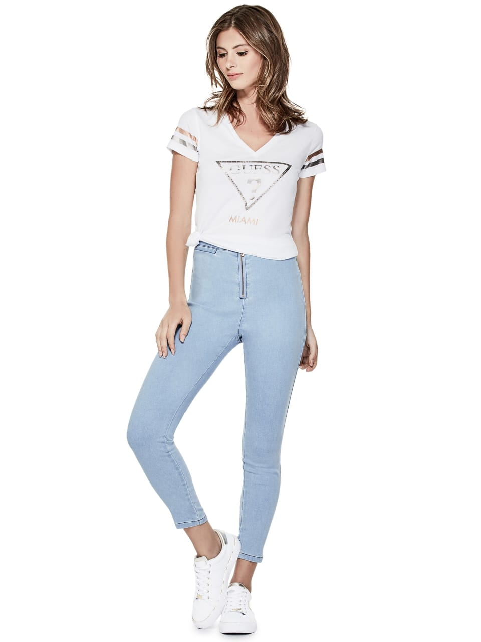 GUESS-Factory-Women-039-s-Miami-City-V-Neck-Varsity-Short-Sleeve-Tee thumbnail 11