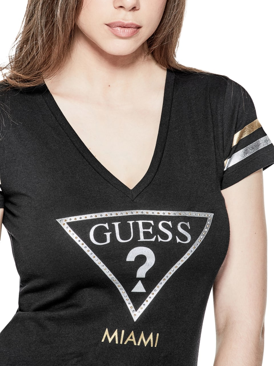 GUESS-Factory-Women-039-s-Miami-City-V-Neck-Varsity-Short-Sleeve-Tee thumbnail 7