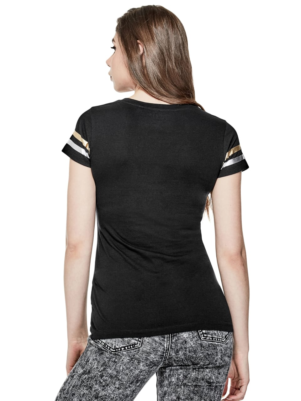 GUESS-Factory-Women-039-s-Miami-City-V-Neck-Varsity-Short-Sleeve-Tee thumbnail 8