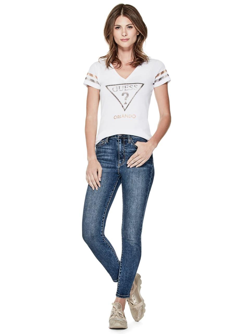 GUESS-Factory-Women-039-s-Orlando-City-Logo-V-Neck-Short-Sleeve-Varsity-Tee thumbnail 10