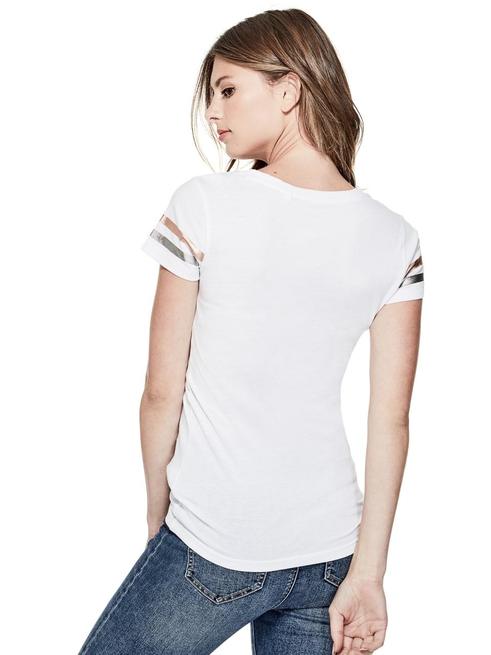 GUESS-Factory-Women-039-s-Orlando-City-Logo-V-Neck-Short-Sleeve-Varsity-Tee thumbnail 11