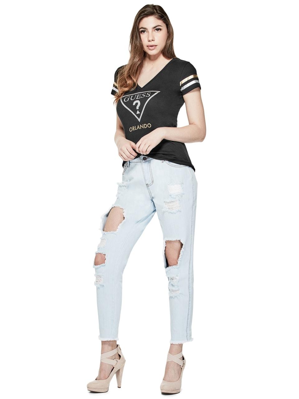 GUESS-Factory-Women-039-s-Orlando-City-Logo-V-Neck-Short-Sleeve-Varsity-Tee thumbnail 7