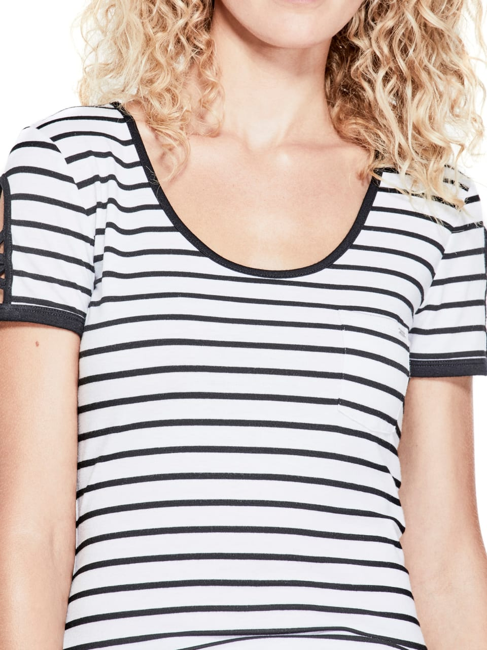 GUESS-Factory-Women-039-s-Nico-Striped-Cutout-Scoop-Neck-Short-Sleeve-Tee thumbnail 7