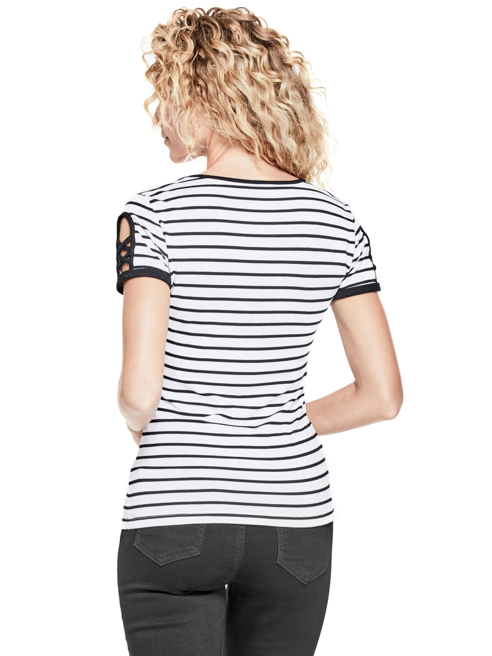 GUESS-Factory-Women-039-s-Nico-Striped-Cutout-Scoop-Neck-Short-Sleeve-Tee thumbnail 8