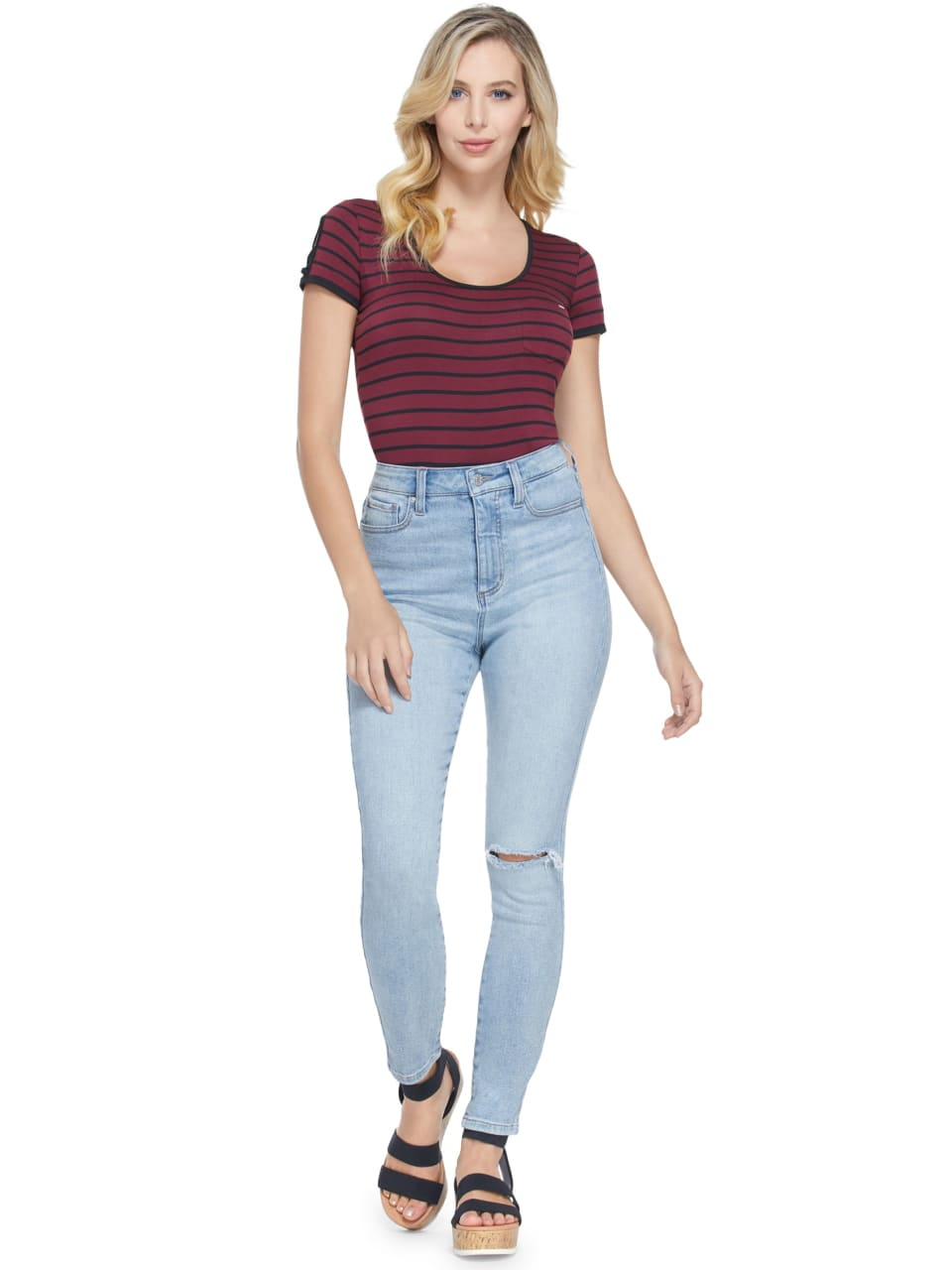 GUESS-Factory-Women-039-s-Nico-Striped-Cutout-Scoop-Neck-Short-Sleeve-Tee thumbnail 11