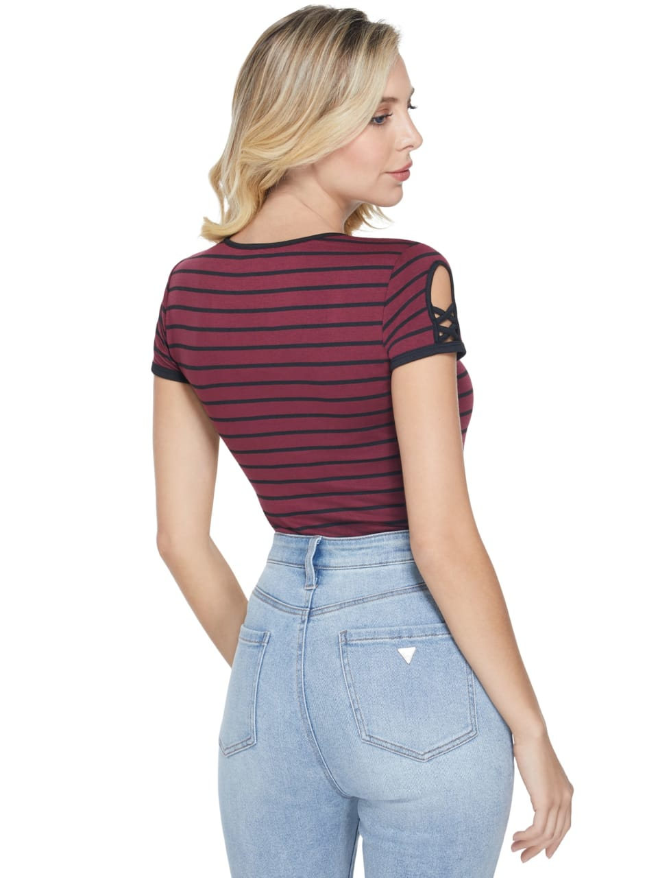 GUESS-Factory-Women-039-s-Nico-Striped-Cutout-Scoop-Neck-Short-Sleeve-Tee thumbnail 13