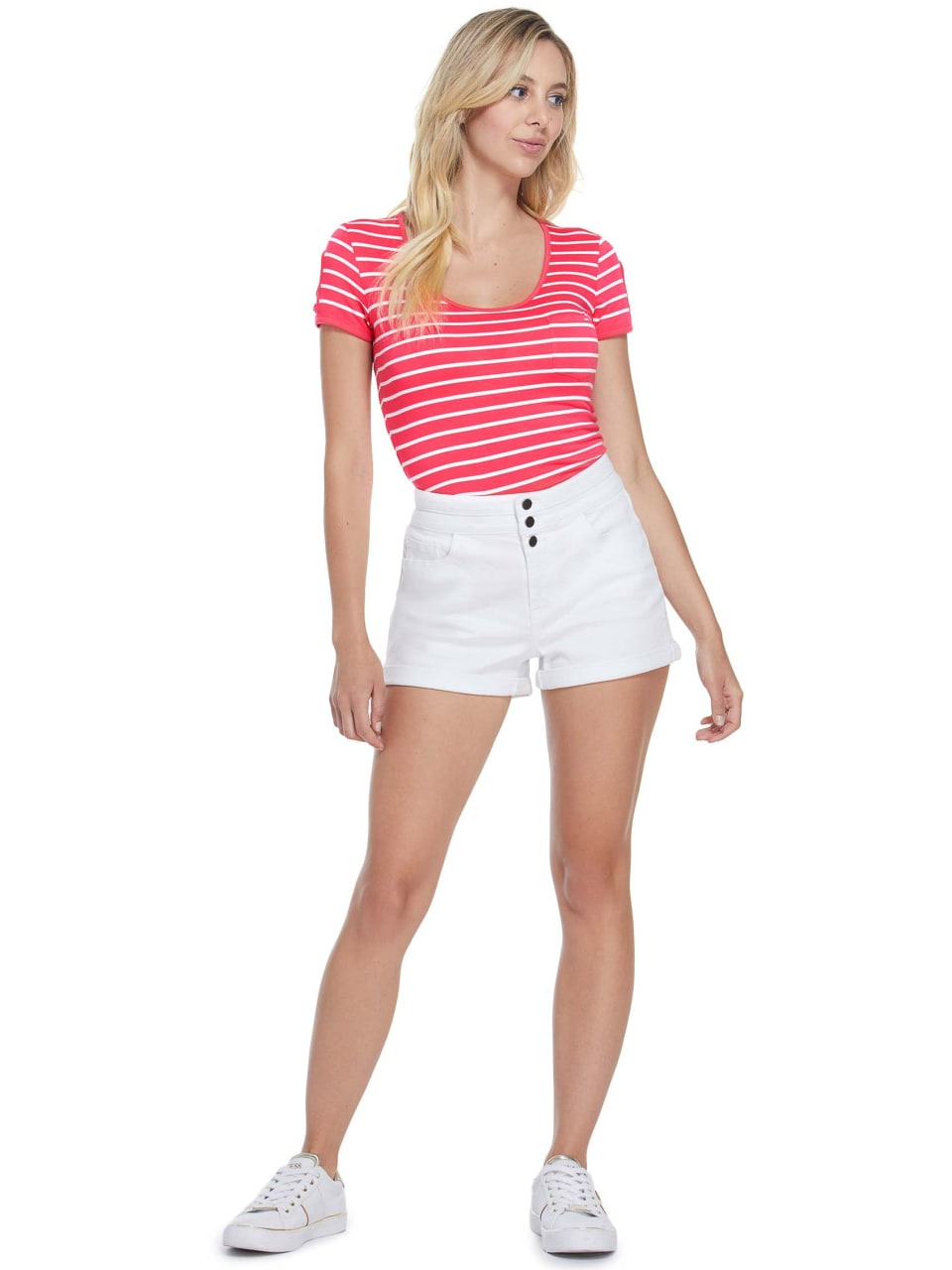 GUESS-Factory-Women-039-s-Nico-Striped-Cutout-Scoop-Neck-Short-Sleeve-Tee thumbnail 16
