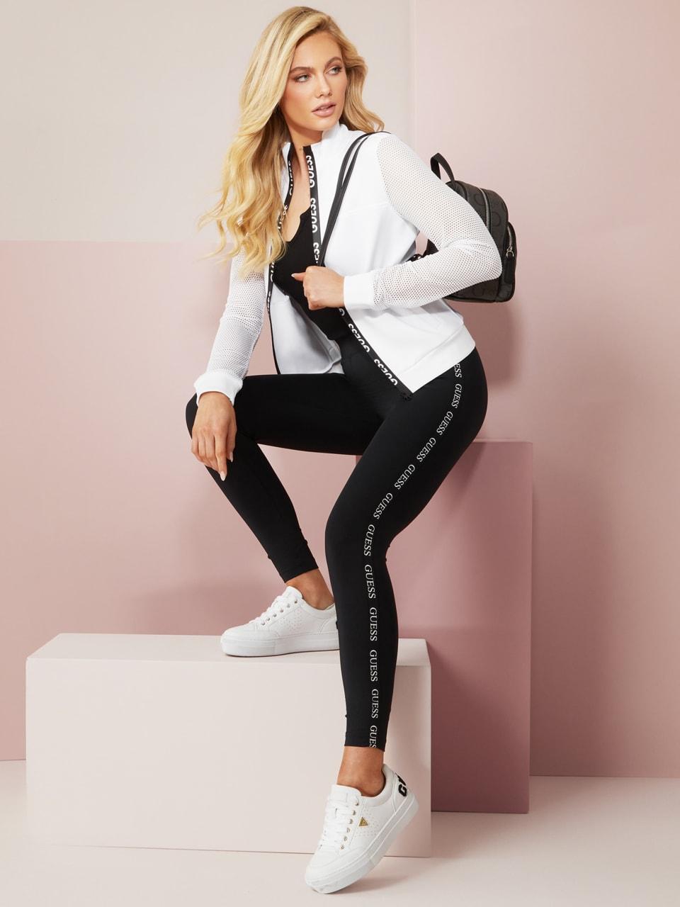 GUESS-Factory-Women-039-s-Cuddy-Logo-Stripe-Leggings thumbnail 4