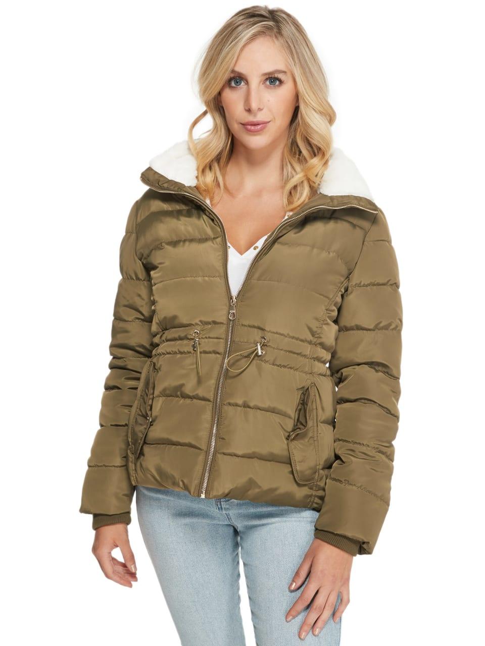 GUESS Factory Glimmer Faux-Fur Trim Puffer Jacket | eBay