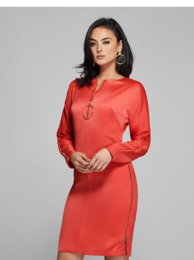 women  O-Ring Zip Dress at Guess