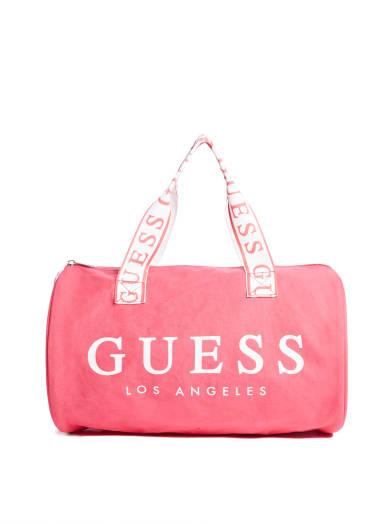 women  Popping Pink Duffel Bag at Guess