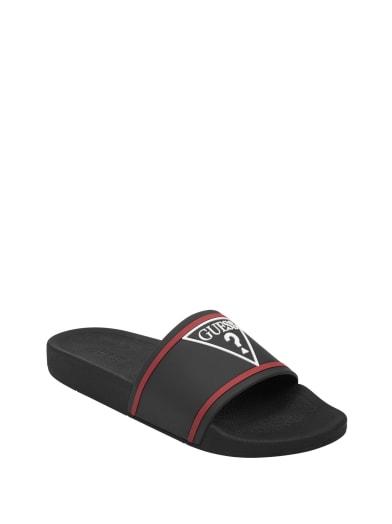 men  Elvern Logo Slide Sandals at Guess