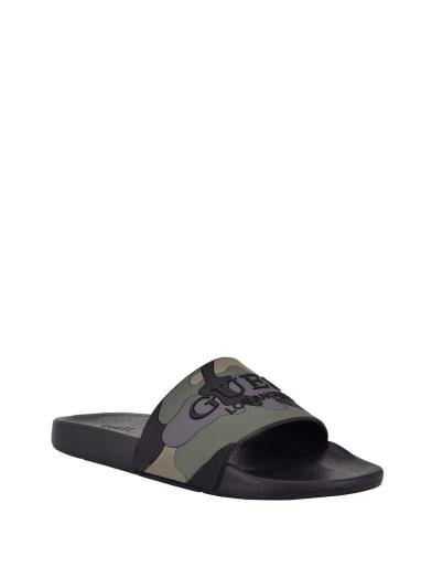 men  Evoke Camo Slide Sandals at Guess
