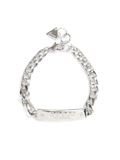 women  Silver-Tone Logo Chain Bracelet at Guess