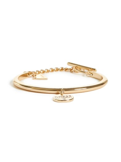 women  Gold-Tone Logo Bangle at Guess