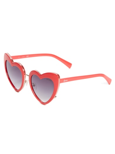 women Oversized Heart Sunglasses at Guess