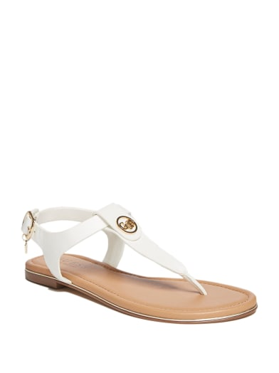women Carmel T-Strap Logo Sandals at Guess