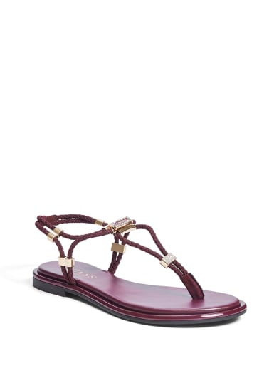women  Coins Stretch T-Strap Sandals at Guess