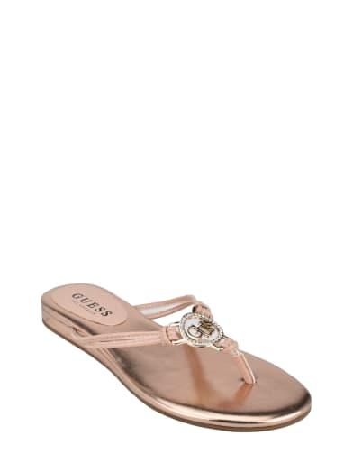 women  Jazette Triangle Logo Sandals at Guess