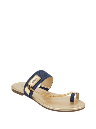 sale  Landen Denim Chain Sandals at Guess