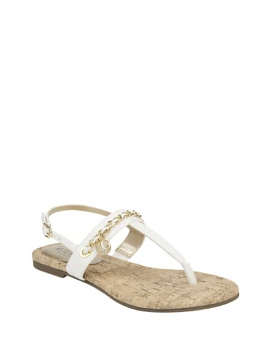 sale  Lyons T-Strap Chain Sandals at Guess