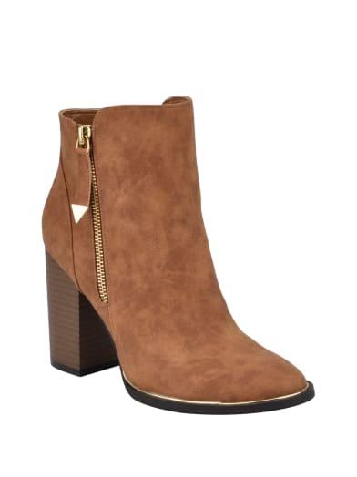 women  Sandiey Block Heel Zipper Booties at Guess