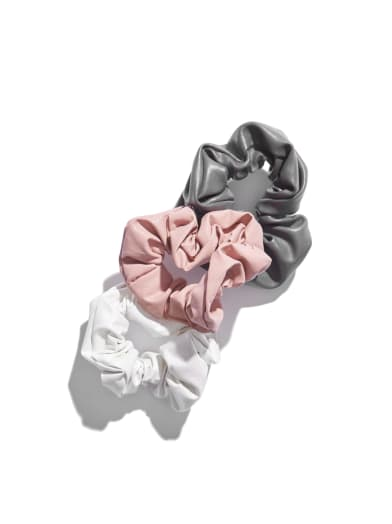 sale  Faux-Leather Metallic Scrunchie Set at Guess