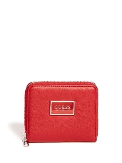 women  Abree Saffiano Zip-Around Wallet at Guess