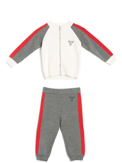 kids  Hampton Color-Block Zip Sweater and Pants Set (0-24M) at Guess