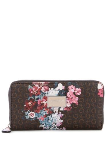 women  Abree Logo Floral Medium Zip-Around Wallet at Guess