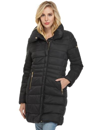 women  Chica Longline Puffer Jacket at Guess