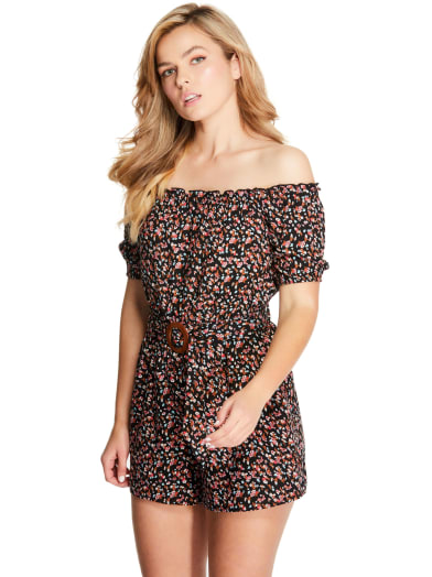 women Off-The-Shoulder Caily Belted Romper at Guess