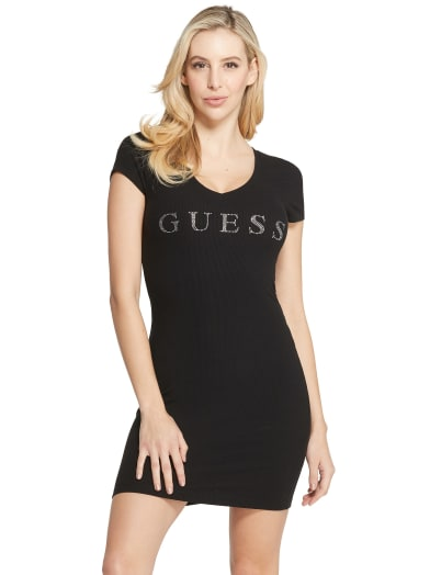 women Lucie Rhinestone Logo Dress at Guess