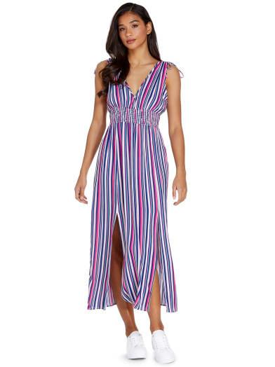 women  Heidi Striped Maxi Dress at Guess